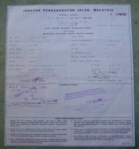 Malaysian Automobile Registration Certificate
